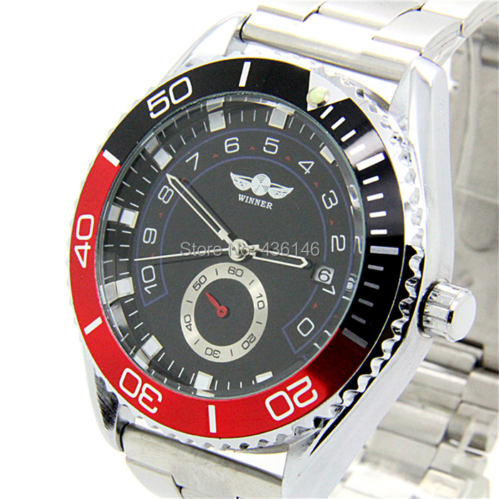 WINNER relogio full steel calendar men self wind automatic watch sports unique bezel male clock mechanical watches SW047 - The East Watch shop store