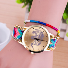 Fashion Maya Style Knit Band Rose Gold Dial Casual Leisure Vintage Bracelet Wrist Watch Watches For