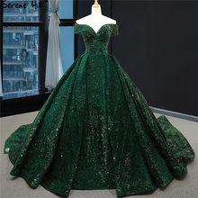 האחרון עיצוב ירוק תחרה נצנצים חתונת שמלת 2019 מתוקה סקסי יוקרה כלה שמלות Serene היל 66742 תפור לפי מידה(China)