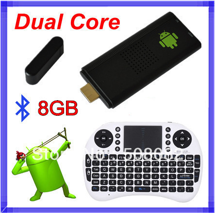 8GB Bluetooth MK809 Android 4.4.2 tv box Google TV Dongle Dual Core Cortex A9 WiFi  RK3066  Mini PC +Rii i8 air mouse keyboard