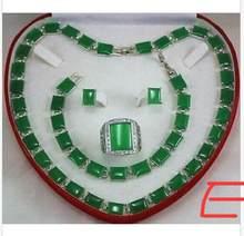 หยกสีเขียว Golden Link คริสตัลจี้สร้อยคอสร้อยข้อมือต่างหูแหวน(China)