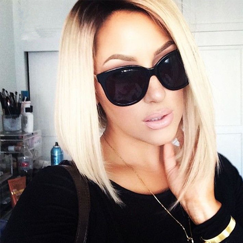 Blonde Bob Lace Wig #613 Platinum Blonde Black Ombre Wig Synthetic Short Hair For Black Women<br><br>Aliexpress