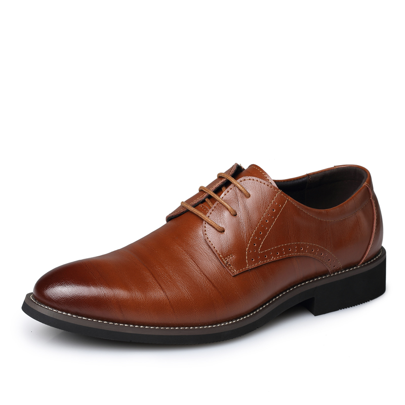 Fashion Genuine Leather Men Oxfords, Lace-Up Business Shoes, Dress Shoes - Wyatt happy store