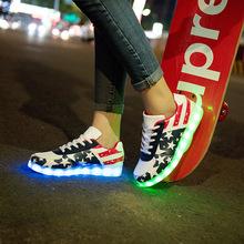 2018ユーロ30-44子供のスニーカー光るファッションusb充電式ライトアップled靴子供発光スニーカー用男の子&女の子(China)