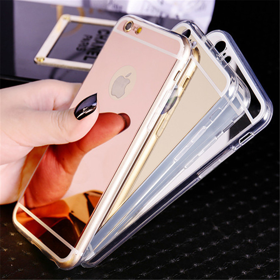 New rose gold luxury mirror soft clear tpu case for iphone 6 6s 7 4 7 inch iphone6 7 plus 5 5 - Girare foto a specchio iphone ...