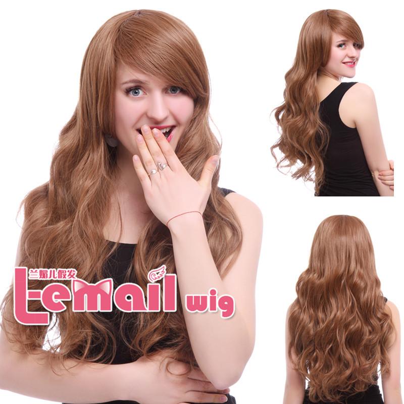 Free shipping Fashion Women Synthetic Hair 60cm Long Light Brown Wavy Wig<br><br>Aliexpress