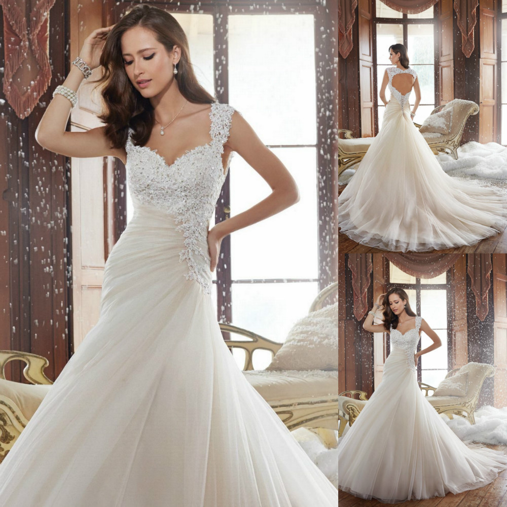 Beautiful long wedding dress 2015 beaded open back lace for Sweetheart corset wedding dress