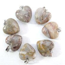 Pierre naturelle Turquoises Quartz cristal oeil de tigre opale lapis coeur pendentifs pour bijoux à bricoler soi-même faisant des colliers Accessories24PCS A2(China)