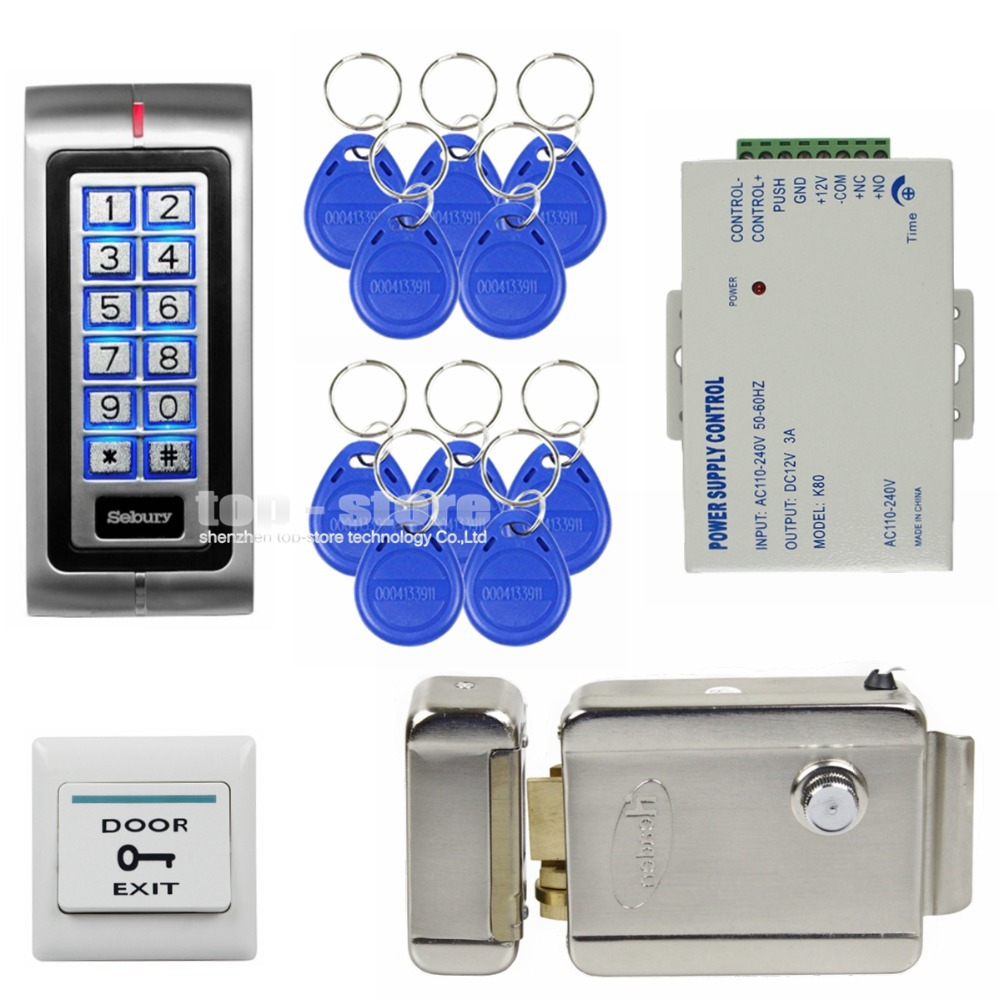 DIY 125KHz RFID Password Keypad Access Control System Security Kit + Electric Door Lock + Exit Switch K2(China (Mainland))