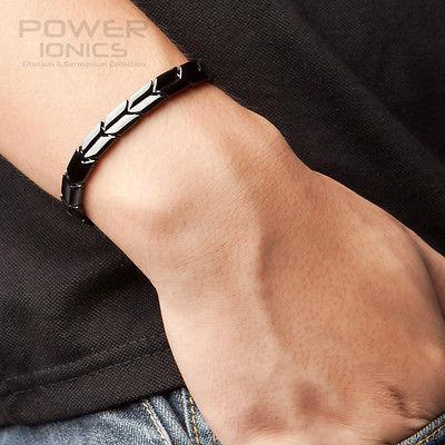 Power Ionics Black Titanium Germanium Health Fashion Bracelet Balance Body PT007<br><br>Aliexpress