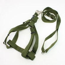 Army Green Rope Puppy Pet Dog Side Release Buckle Harness Leash Collar 1.1M(China (Mainland))