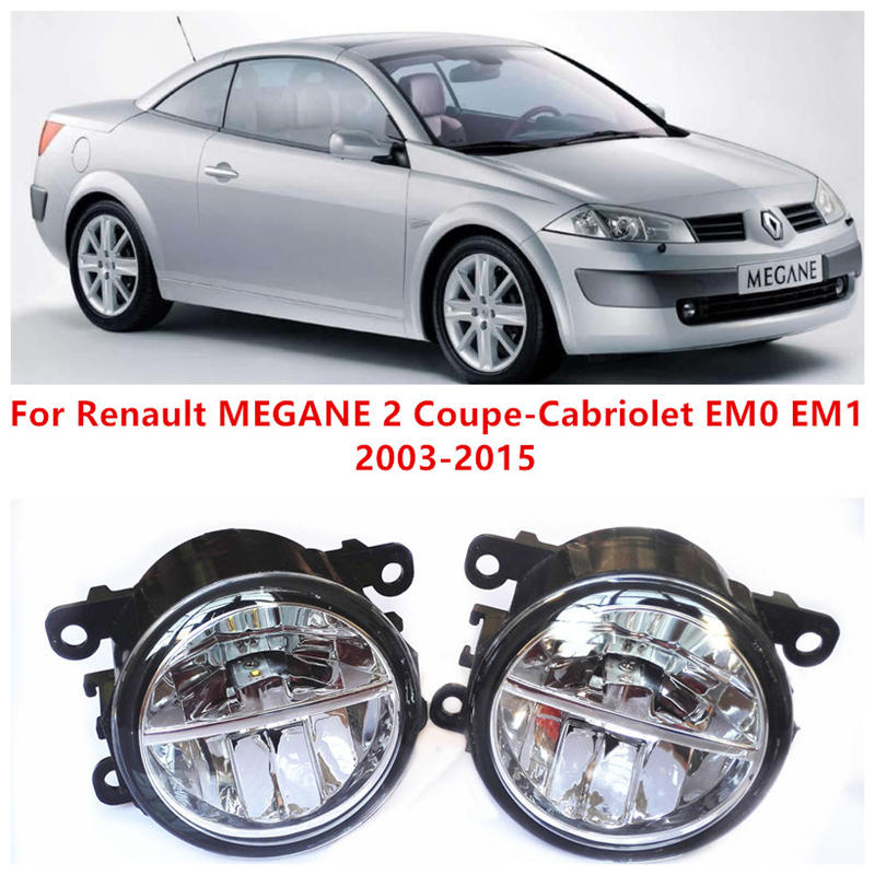 Renault MEGANE 2 Coupe-Cabriolet EM0 EM1 Convertible 2003-2015 10W Fog LED DRL Daytime Running Lights Car Styling lamps - E-J Fifi AUTO store