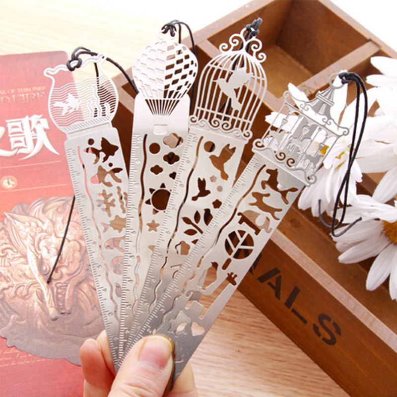 1 X catoon bird fish metal bookmark with ruler material escolar papelaria bookmarks for books stationery 10cm(China (Mainland))