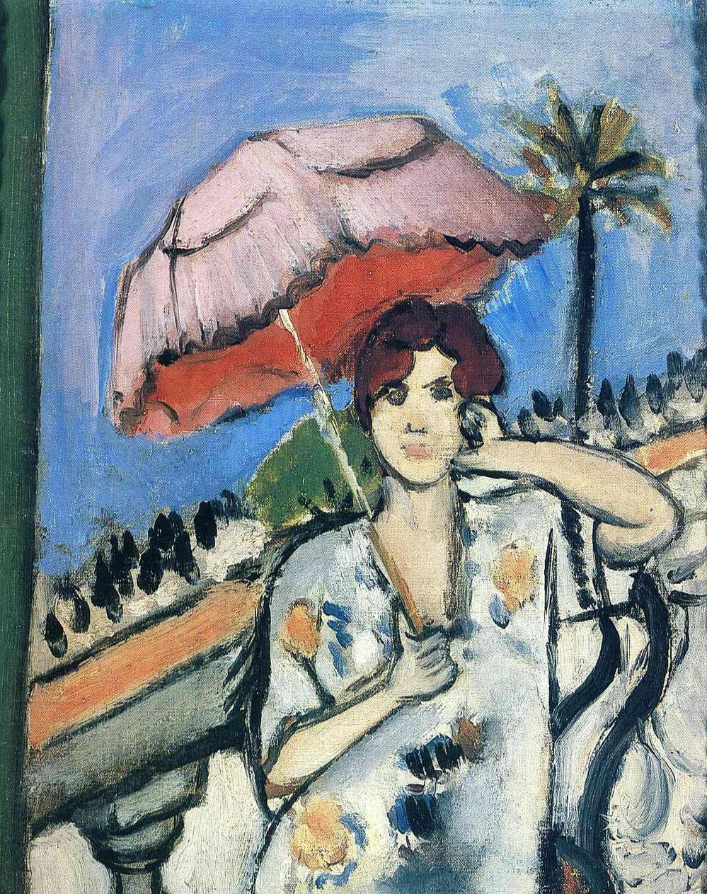 Woman Umbrella Painting Woman With Umbrella by Henri