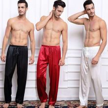 Mens Silk Satin Pajamas Pyjamas Pants Lounge Pants  Sleep Bottoms Free p&p S M L XL 2XL 3XL 4XL Plus(China (Mainland))