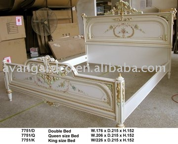 European style antique solid wood queen size bed king size - Camas estilo vintage ...