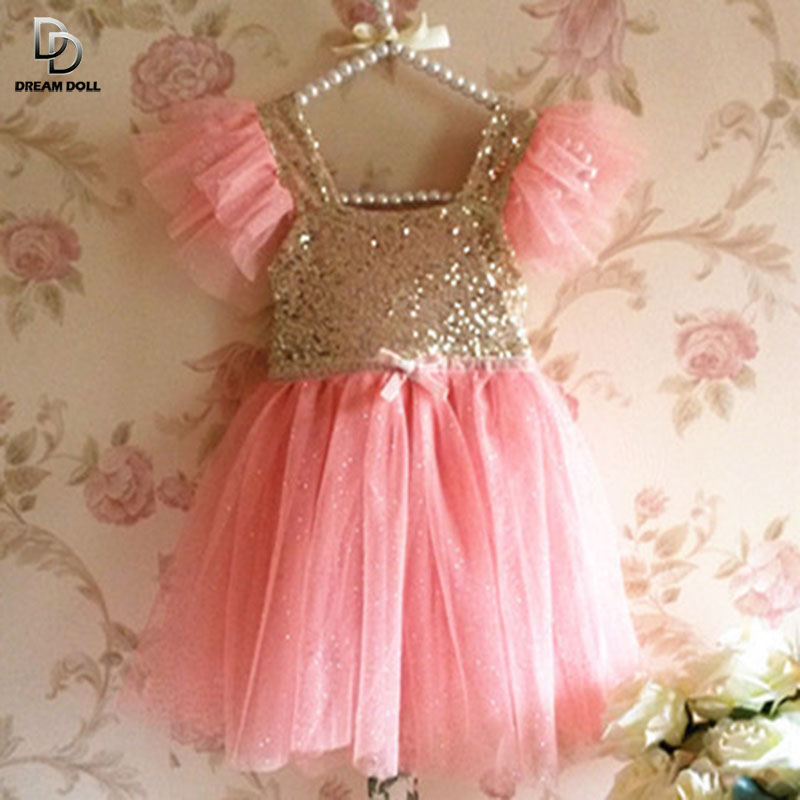 ! NEW Girls Baby Toddler Sleeveless Golden Sequined Tulle Party Dress Ball Gown Sparkling Polka Dots 3-7 Years - sotida store