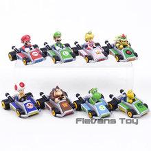 Super Mario Kart Tarik Kembali Mobil Luigi Bowser Koopa Donkey Kong Princess Peach Toad Jamur Mobil Figures, Mainan untuk Anak-anak 8 Pcs/set(China)