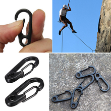 10pcs Stainless Steel Keychain Snap Clip Carabiner Hiking Buckle Split D-Ring Black Carabiner Clasps(China (Mainland))