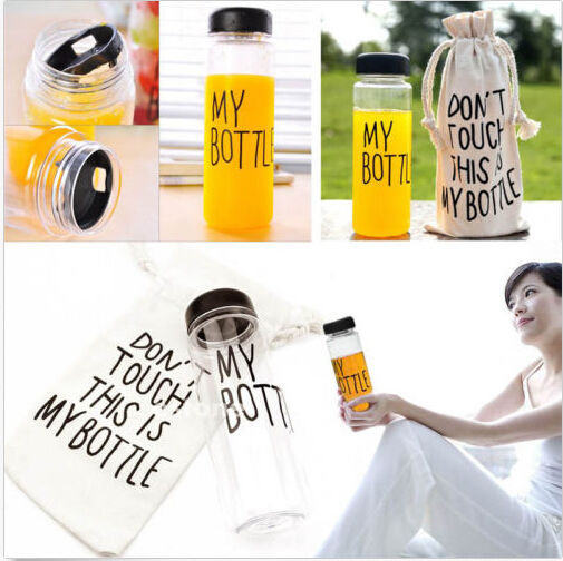 With bags 2015 Korea Style Newest Design 500ml Portable Clear My Bottle Sport Bicycle Plastic Fruit Lemon Juice Water Cup #B2087(China (Mainland))