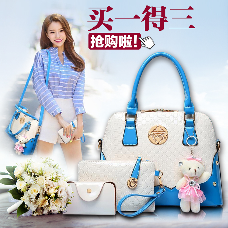 Buy one shouder hand bags with two little bags as gift blueand white splice lady totes cross body handbag(China (Mainland))