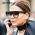 VictoryLip Fashion Celebrity Brand Designer Women Sunglasses Sun Glasses Flat Top Shield Lady Female Superstar Oversize