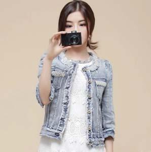 New Cute Autumn Women's Coats Outwear Designer Brand O-Neck Three Quarter Sleeve Short Jean Denim Jacket With Beads Diamonds