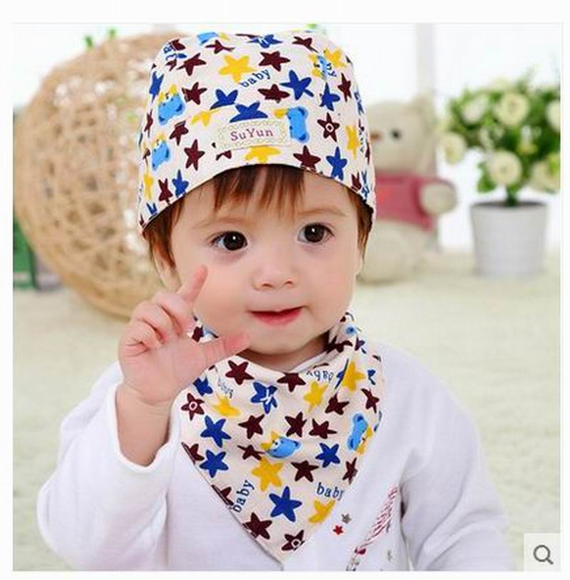 Hot sale Baby spring hat baby cap cotton 100% tire newborn boy girl pirate hat bib twinset + Children's plus sling piece fitted(China (Mainland))