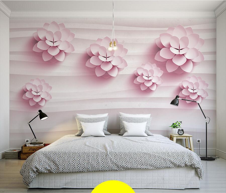 Custom 3d murals 3d stereo warm pink flowers wallpaper for Red flower wallpaper living room