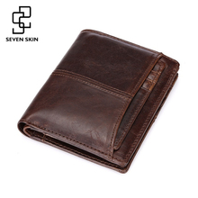 Buy Vintage Designer Men Genuine Cowhide Leather Wallet Male Short Coin Purse Card Holder Small Wallet Mini Photo Holder Removeable for $8.96 in AliExpress store