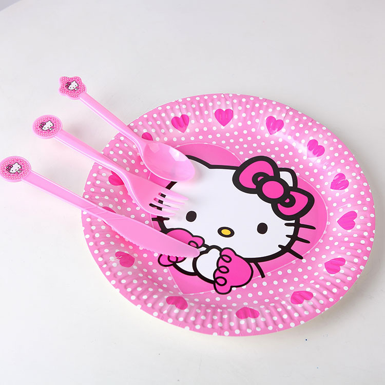 10pcs/lot Party Favors Plastic Hello Kitty Knives/Forks/Spoons for Kids Children Birthday Party Decoration Shower Decoration GYH(China (Mainland))