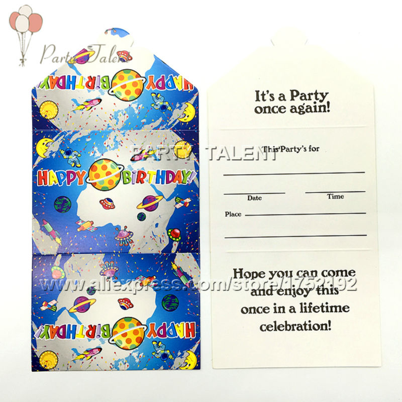 Party supplies 10PCS space and science theme party decoration paper invitation card(China (Mainland))