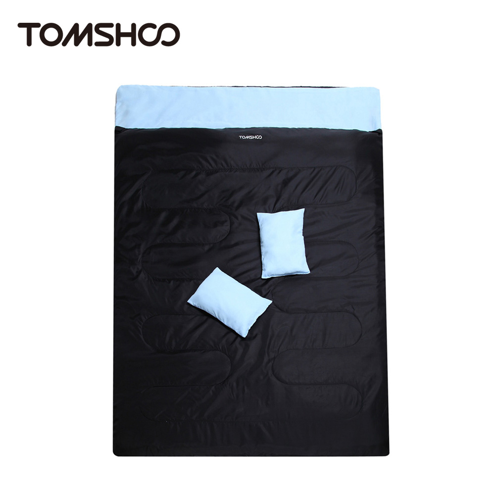 """TOMSHOO 86""""x60"""" Double Sleeping Bag 2 Person Outdoor Camping Hiking Sleeping Bags with 2 Pillows(China (Mainland))"""