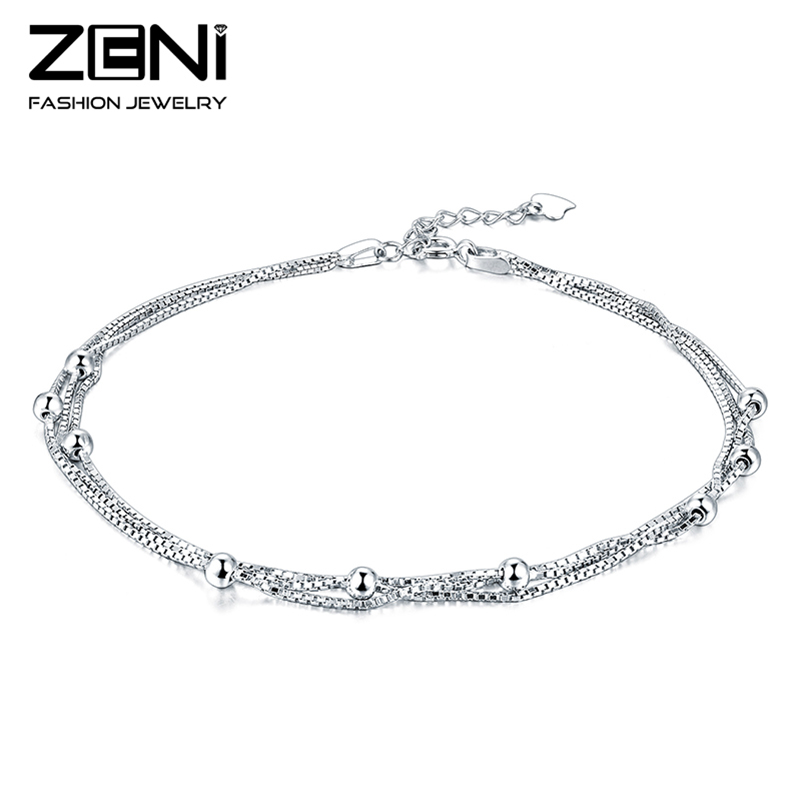 Zeni Fine Jewelry Genuine 925 Sterling Silver Anklets for Women Fashion Design Birthday Gift for Women(China (Mainland))