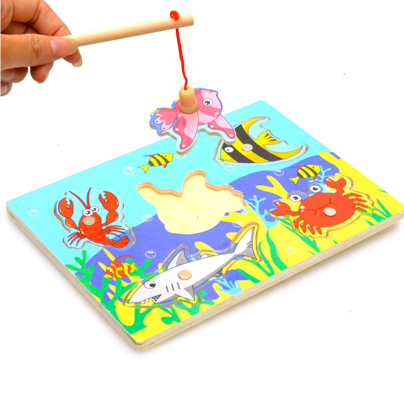 Kids Wooden Toys Educational Learning Wood Fishing Game Small Magnetic Puzzle Table Farm Brinquedo Toys For Children Gifts(China (Mainland))