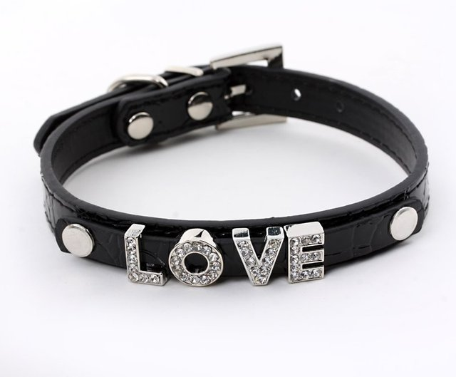 Crocodile Leather DIY Dog Collars Could Get Through 10mm Slider Charms(XS-L) Personalized Cat Puppy Pu Collar 5Colours