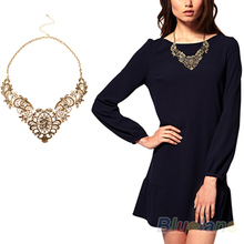 New European Vintage Luxurious Collar Chain  Bronze Lace Flower Chain Choker Necklace for Women Sale 02JN 387A(China (Mainland))