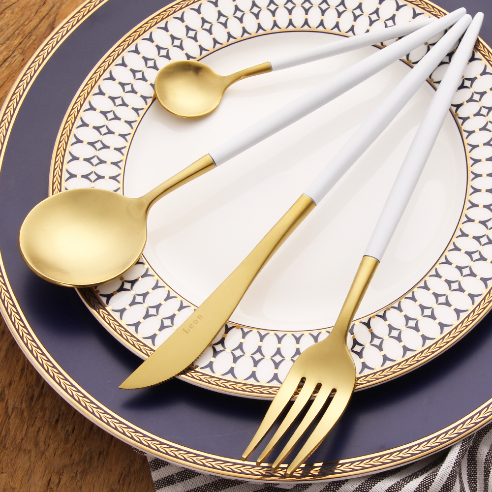 LEKOCH Golden 18/10 Stainless Steel Dinnerware Set White Handle Silverware Set Fork Knife Scoops Cutlery Set Home Tableware Set(China (Mainland))