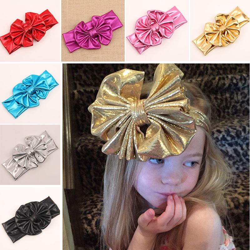 2015 NEW Arrival Metallic Messy Girl Kid gilding Stretch bowknot Elastic Hairband Headband Baby Knot Head Wrap Headwear(China (Mainland))