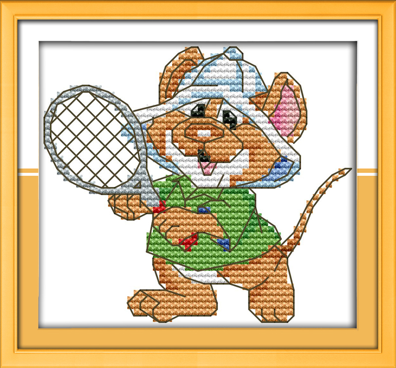 The sport mouse (9) - tennis cross stitch kit 14ct 11ct count print canvas stitches embroidery DIY handmade needlework plus(China (Mainland))