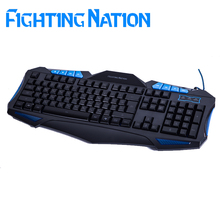 Fighting Nation Russia letter Russian layout gaming gamer keyboard USB wired 3 color backlit backlight led light for computer(China (Mainland))
