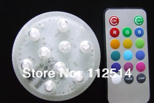 Remote control submersible 9 led vase light in assorted colour