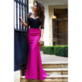 Elegant Mermaid Evening Dresses with Sleeves Black Lace and Fuchsia Satin Formal Dress Long Open Back