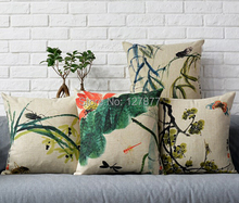 Chinese style retro flowers and birds pattern pillows cushion
