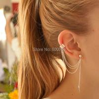 Women Girl Stylish Punk Rock Leaf Chain Tassel Dangle Ear Cuff Wrap Earring 2015 New free shipping