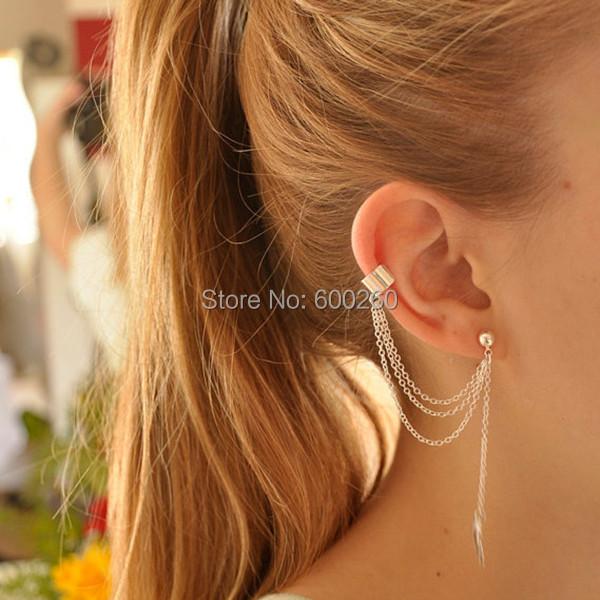 Women Girl Stylish Punk Rock Leaf Chain Tassel Dangle Ear Cuff Wrap Earring 2015 New free shipping(China (Mainland))