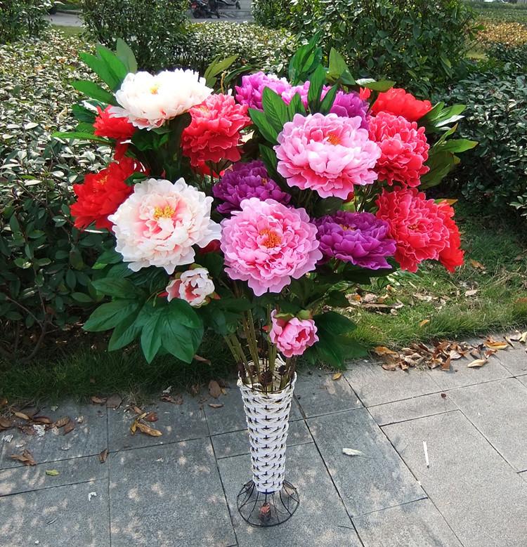 Artificial peony flower 3 large silk flower floor artificial flower decoration flower(China (Mainland))