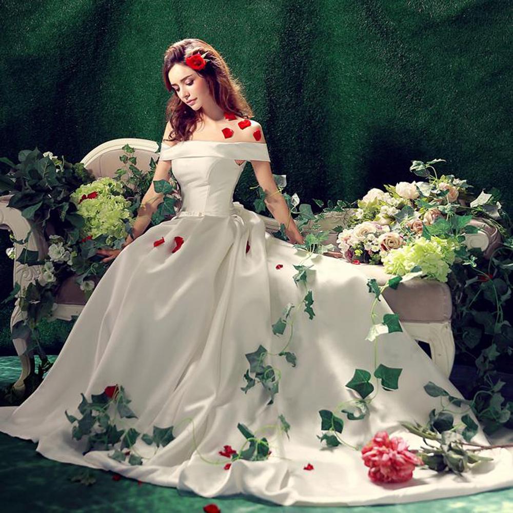Zkc дядя сексуальные женщины свадебное бальные платья белый лодка шеи спинки с плеча с луком назад плюс размер маленький хвост, ty1166