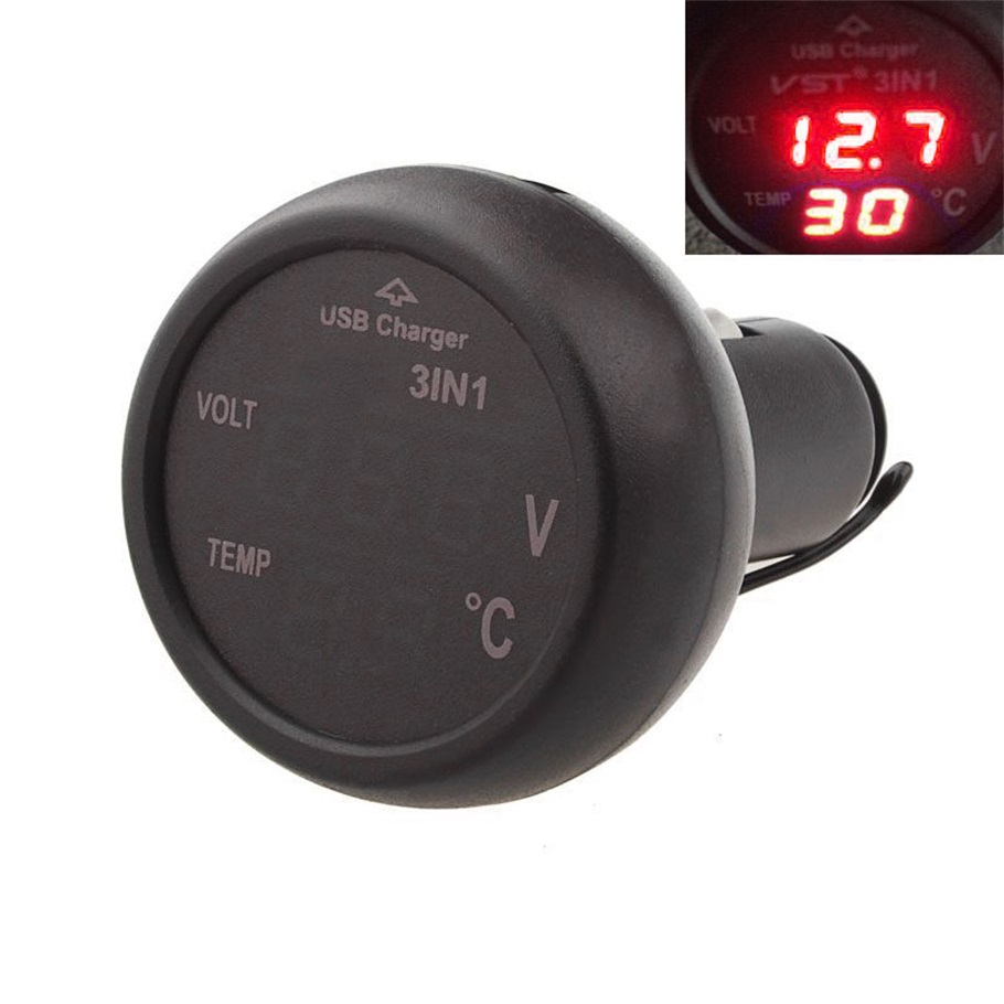 2 color New 3 in 1 Digital LED car Voltmeter Thermometer Auto Car USB Charger 12V/24V Temperature Meter Voltmeter hot selling~(China (Mainland))
