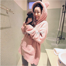 Warm Winter  Faux Fur Pajamas Set  Women's robe cartoon clothes Lady homewear retail Cat Hooded Homewear(China (Mainland))